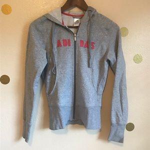 Adidas Pink & Grey Hoodie. Zip up. Small Juniors.